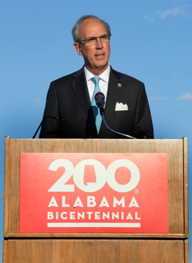 Mobile Mayor Sandy Stimpson speaks to the audience at the Alabama Bicentennial kickoff. (Keith Necaise)