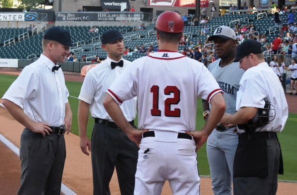 The Birmingham Barons, the Chattanooga Lookouts and the officials all donned vintage uniforms for the Turn Back the Clock game at Regions Field. (Solomon Crenshaw Jr./Alabama NewsCenter)