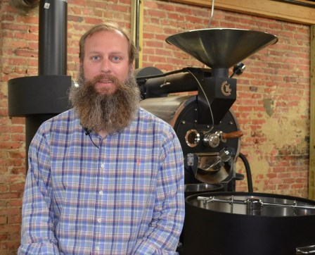 Ryan Bergeron's quest for a new career led him to start Revival Coffee Company in Selma. (Michael Tomberlin / Alabama NewsCenter)