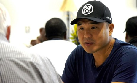 Writer Gene Hong gathers material for a screenplay at this week's Negro League reunion. (Solomon Crenshaw Jr./Alabama NewsCenter)