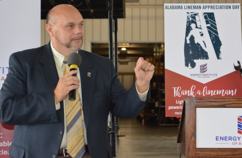 Alabama Public Service Commissioner Jeremy Oden speaks at Alabama Lineman Appreciation Day. (contributed)