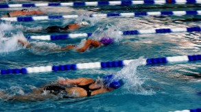 Terril McBride finished third in her heat and sixth overall in the women's age 60-69 division 50-yard freestyle of the National Senior Games. She will compete in the 50-yard butterfly today. (Solomon Crenshaw Jr. / Alabama NewsCenter)