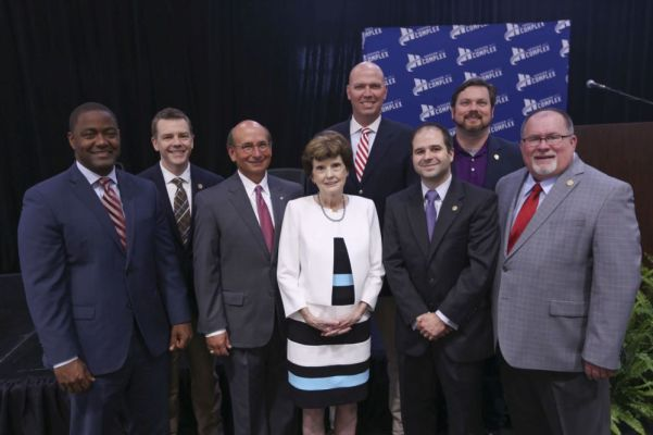 Mrs. Diane Finley, wife of Bob Finley (center), is joined by Hoover city leaders. (Contributed)