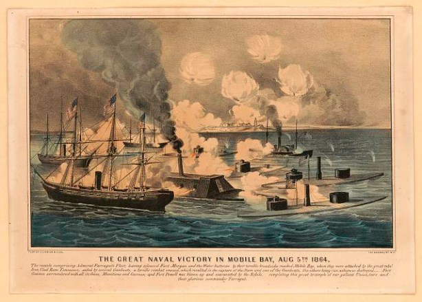 """Great naval victory in Mobile Bay, Aug. 5th 1864."" (Currier & Ives, Library of Congress Prints and Photographs Division)"