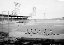 Rickwood Field- View of the playing field with home plate to center, stands in the background, and dugout in the foreground. (Photograph by Jet Lowe, Historic American Buildings Survey, Library of Congress Prints and Photographs Division)