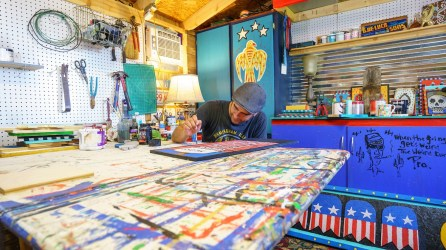 Anthony Tavis began his career as a folk artist in Tuscaloosa and now creates his works at his studio in Helena. (Mark Sandlin/Alabama NewsCenter)