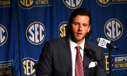 Arkansas quarterback Austin Allen talks to the media at SEC Media Days. (Solomon Crenshaw Jr. / Alabama NewsCenter)