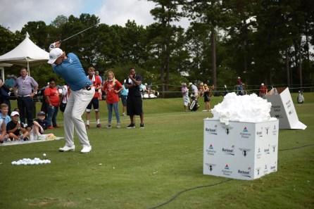 Dru Love takes aim at the mound of Barbasol. (Christopher Jones/Alabama NewsCenter)