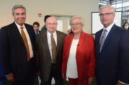 At the ceremony were, from left, Alabama Power CEO Mark Crosswhite, ACCS Chancellor Jimmy Baker, Gov. Kay Ivey and Sen. Greg Reed. (Karim Shamsi-Basha / Alabama NewsCenter)