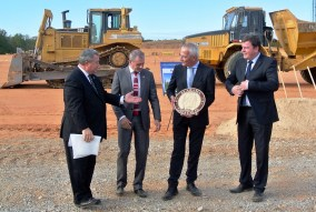 Alabama Commerce Secretary Greg Canfield, left, welcomes MöllerTech to Bibb County last year. (Made in Alabama)