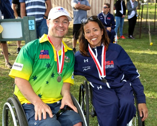 Kerri Vanderbom, a member of the 2017 U.S. Disabled Water Ski World Team, with her husband, Derek, who won a gold medal this year competing for Australia. (Shane Morgan)