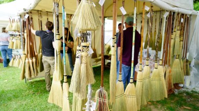 George Jones Jr.'s George's Broom Closet makes a variety of brooms the old-fashioned way. (Mark Sandlin / Alabama NewsCenter)