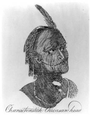 A sketch by Bernard Romans of a Chickasaw warrior. In 1775, Romans published A Concise Natural History of East and West Florida, which detailed life in the Southeast during the Colonial era. Romans' work provides a detailed description of Native American life in the region prior to widespread white settlement. (From Encyclopedia of Alabama, Library of Congress)