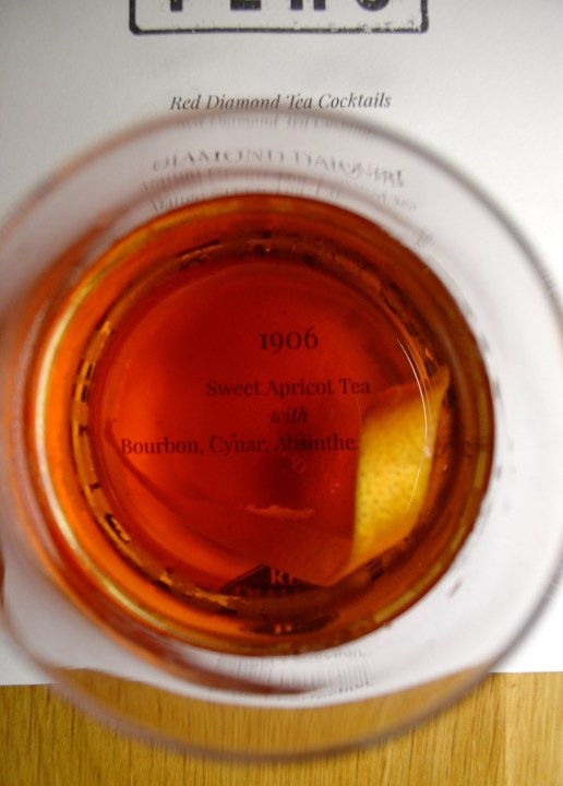The 1906 cocktail incorporated Red Diamond's sweet apricot tea with bourbon, Cynar, absinthe and bitters. (Michael Tomberlin / Alabama NewsCenter)