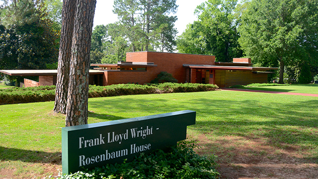 The Rosenbaum House in Florence is identifiable at a glance as the work of famed architect Frank Lloyd Wright. (Karim Shamsi-Basha/Alabama NewsCenter)