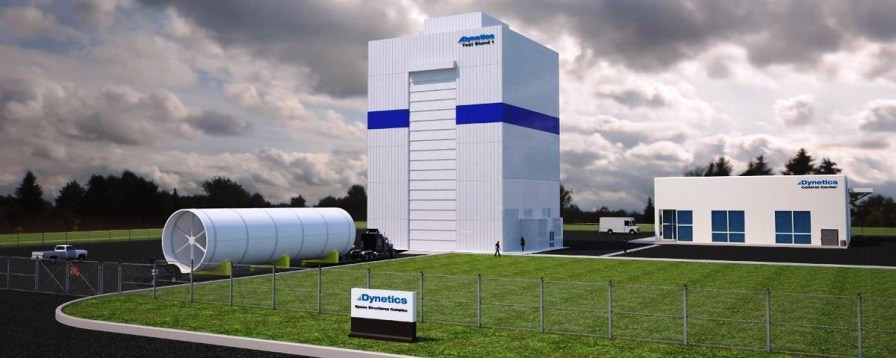 A rendering shows Dynetics' rocket testing facility in Morgan County. (file)