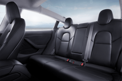 Model 3 Interior Rear Seat Blue Sky