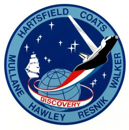 (April 3, 1984) The official insignia for the 41-D space shuttle flight features the Discovery - NASA's third orbital vehicle. (Photo credit: NASA)
