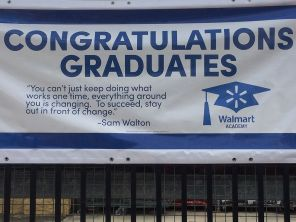 Congratulatory banner hangs just outside the Chelsea store. (Keisa Sharpe/Alabama NewsCenter)