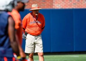 Gus Malzahn at the first day of Auburn football practice on Monday. (Wade Rackley/Auburn Athletics)