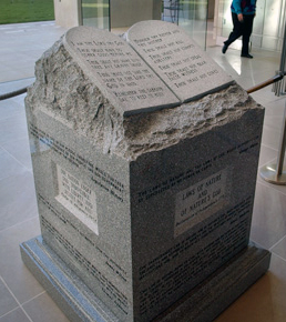 The monument at the center of the Alabama church-state controversy of the early 2000s included a carving of the Ten Commandments on two tablets, as well as other religious language, in violation of the First Amendment to the U.S. Constitution. (From Encyclopedia of Alabama, courtesy of The Birmingham News)