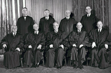 During his 34-year tenure on the U.S. Supreme Court, Justice Hugo L. Black (seated in the front row, second from left) issued opinions on some of the most controversial issues of the 20th century, including freedom of speech, school desegregation and separation of church and state. (From Encyclopedia of Alabama, Courtesy of United States Supreme Court)