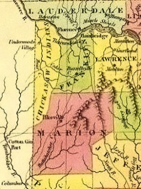 This section from an 1824 map of Alabama shows the extent of Chickasaw territory in the state prior their removal in the 1830s. The majority of Chickasaw lands lay in what are now northern Mississippi and western Tennessee, but the tribe also occupied portions of present-day Colbert (not created until 1867), Franklin and Marion counties. (From Encyclopedia of Alabama, courtesy of the University of Alabama Cartographic Research Laboratory)