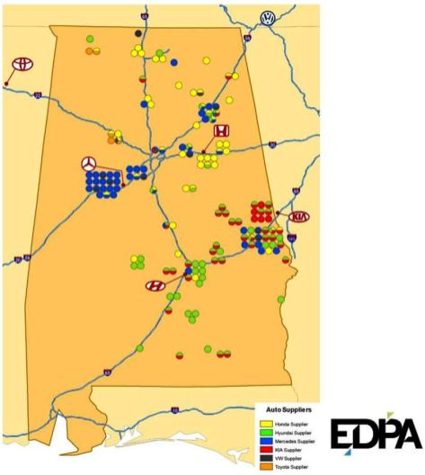 Assembly plants and suppliers in Alabama. (Source: EDPA)