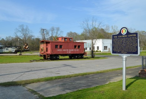 A Choctaw rail car testifies to the railroad's central role in smalltown York. (Anne Kristoff/Alabama NewsCenter)