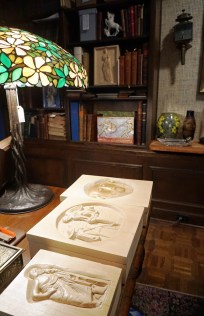 Pappas carves ancient Greek-themed wood boxes to hold rare books. (Erin Harney/Alabama NewsCenter)