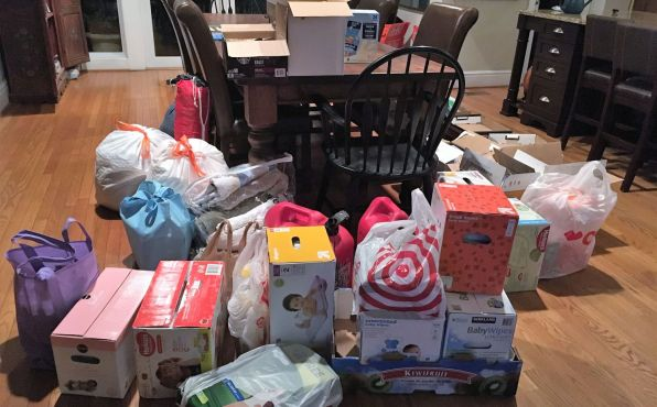 Friends and neighbors filled Robert's home with donations. (Maria Robert)