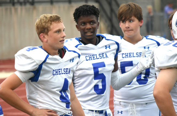 Gabriel Ruffin (5) talks to teammates on the sideline during the season-opening freshman football game between his Chelsea Hornets and Oak Mountain. Chelsea won 21-16 with Ruffin making two touchdown catches. (Solomon Crenshaw Jr./Alabama NewsCenter)