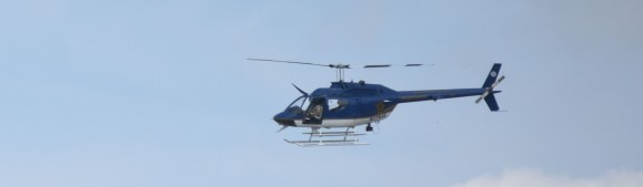 From this helicopter, Gene Hallman monitored goings-on related to UAB's first college football game since the end of the 2014 season. (Solomon Crenshaw Jr. / Alabama NewsCenter)