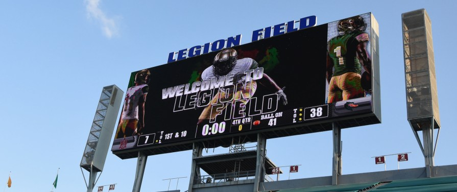 The video board tells the final score as the Blazers down the Bulldogs 38-7 in The Return. (Solomon Crenshaw Jr. / Alabama NewsCenter)