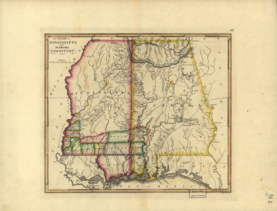 The state of Mississippi and Alabama territory, from the Samuel Lewis atlas, 1817. (Library of Congress, Geography and Map Division)