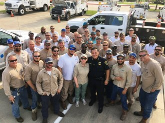 Alabama Power crews have been working alongside CenterPoint Energy crews and local officials as they try to restore power and bring normalcy back to parts of the Houston area devastated by Hurricane Harvey. (CenterPoint Energy)