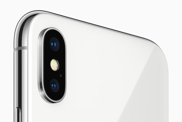 The iPhone X features the 7MP TrueDepth camera and a redesigned 12MP rear camera with dual OIS. (Apple Inc.)