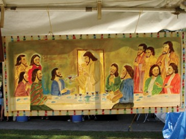 A Myrtice West depiction of the Last Supper on display at the Kentuck Festival of the Arts in Northport, Tuscaloosa County. (From Encyclopedia of Alabama, courtesy of Ginger Ann Brook)