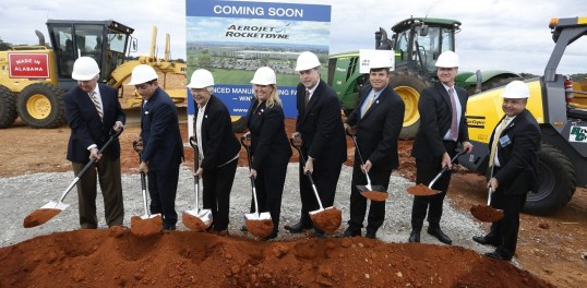 State, local and company officials hold a ceremonial groundbreaking for Aerojet Rocketdyne's 136,000-square-foot advanced manufacturing facility in Huntsville. (Contributed)