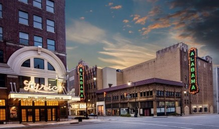 This rendering shows what a restored Alabama Theatre sign on the 18th Street side could look like. (contributed)
