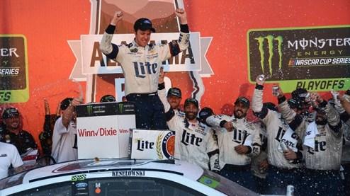Brad Keselowski is sprayed with champagne after one of his five wins at Talladega Superspeedway. (Karim Shamsi-Basha / Alabama NewsCenter)