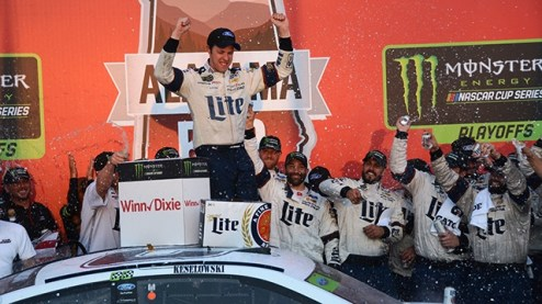 Brad Keselowski is sprayed with champagne after one of his five wins at Talladega Superspeedway. (Karim Shamsi-Basha / Alabama NewsCenter)
