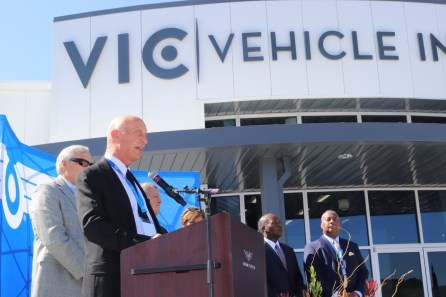 New Flyer, North America's largest bus manufacturer, dedicated its new Vehicle Innovation Center today in Anniston. (Dennis Washington / Alabama NewsCenter)