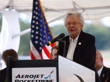 Gov. Kay Ivey speaks at the groundbreaking ceremony for Aerojet Rocketdyne in Huntsville. (Contributed)