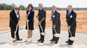 Mercedes is building a logistics operation in Bibb County. From left to right, Bibb County Commissioner Ricky Hubbard; Deputy Secretary of Commerce Angela Till; Jason Hoff, president and CEO of Mercedes-Benz U.S. International; Lee Smith, East Region Executive with BBVA Compass and incoming 2018 BBA Chairman; and Brian Hilson, president and CEO of Birmingham Business Alliance. (Contributed)