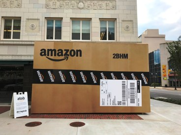 A giant Amazon box in downtown Birmingham testifies to the city's attempt to snag the online retailer's second headquarters. (Michael Tomberlin/Alabama NewsCenter)