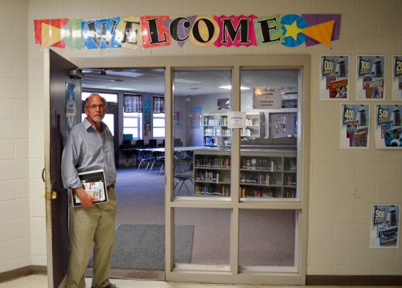 """Marlin """"Bart"""" Barton at the doorway to his classroom at Mt. Meigs. (Anne Kristoff / Alabama NewsCenter)"""