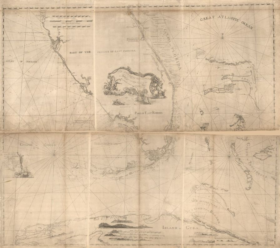 Map of east Florida. Map was drawn in 1774, but not published until 1781. (Bernard Romans, Library of Congress Geography and Map Division Washington)
