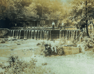 A 1928 photo shows the Turkey Creek dam that was removed recently. (Courtesy of Dorothy Kewish)