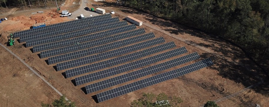 These solar panels will help power Reynolds Landing, a Smart Neighborhood by Alabama Power. The neighborhood will be served by the first community-scale microgrid in the Southeast. (Jim Leverette)
